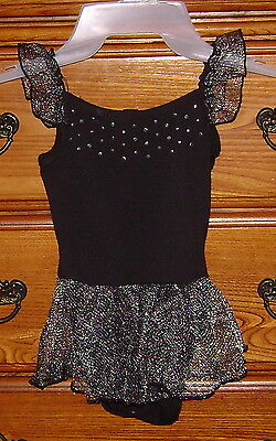 Freestyle Danskin Girl Black Dance Ballet Leotard Tutu Outfit XS 4/5 shiny