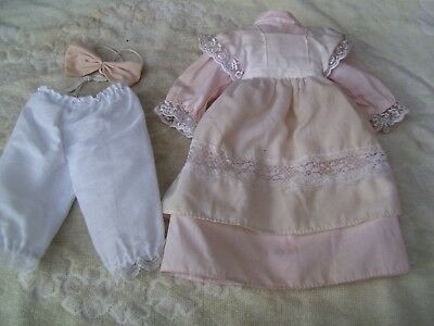 Alte Puppenkleidung Pink Apron Dress Outfit vintage Doll clothes 40 cm Girl