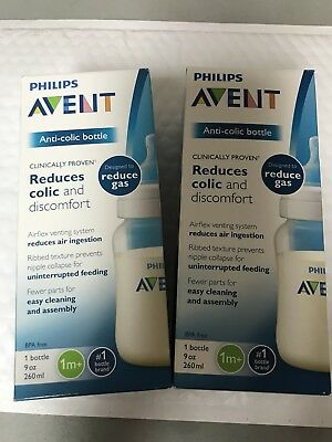 Philips Avent Anti-colic Baby Bottles Clear, 9oz (2) Piece Set  New