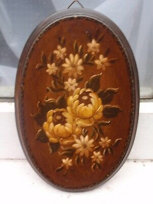 "Vintage ""hs"" Small Flowers Handgemalt Hand Painted Wood Oval Decorative Panel"