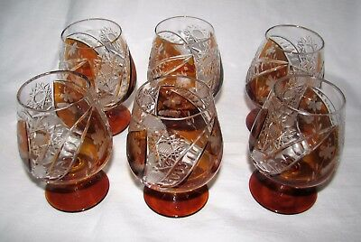 SIX Vintage amber Cut to Clear Crystal COGNAC SNIFTER Goblet Germany shot glass