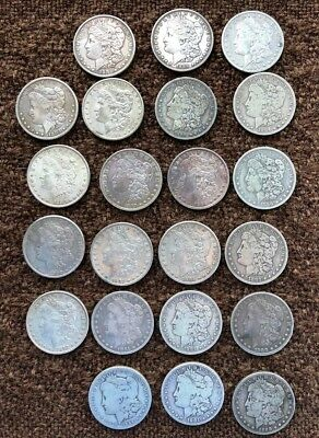 Lot of  22  MORGAN SILVER DOLLARS *  circulated, ungraded