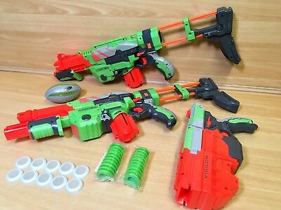 Huge Nerf Vortex X3 Bundle, 2 Praxis 1 Viglon Blaster Gun Discs Magazine  Party