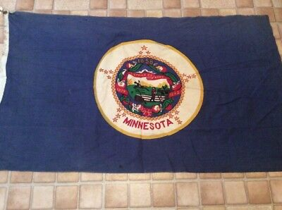 Antique Heavy 100% Cotton Bunting Minnesota 1858 State Flag 3' X 5' By Bulldog