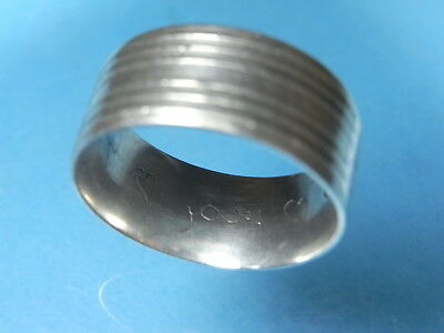 British Found Ribbed Post Medieval Silver Posy Ring. With Engraved Inner Band.