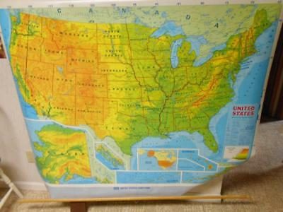 vintage MODERN EDUCATIONAL SYSTEMS INC. pull down UNITED STATES school map