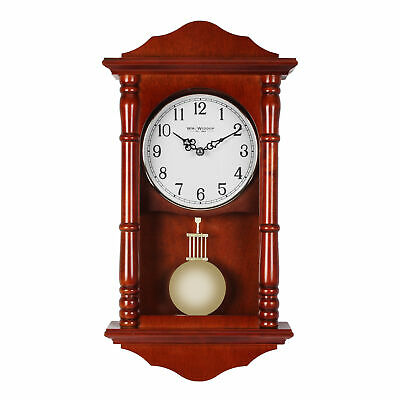 Wooden Pendulum Short Wall Clock Mahogany Westminster Chime
