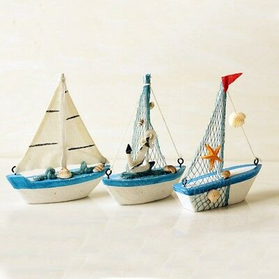 1Pcs Nautical style Blue Wooden Ship Model Starfish Home Decor Sailboat Toy