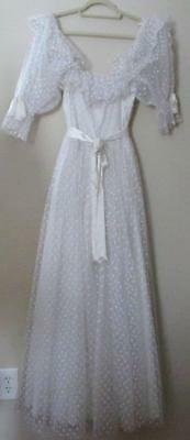 Vintage Ivory Gown Dotted Tulle 1950s 60s Puffy Sleeve Womens Sz M Wedding Dress