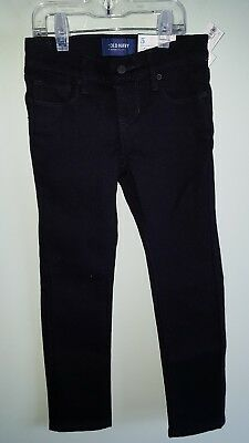 NWT Old Navy Girls SIZE 5 REG Skinny Jeans BLACK Snap Adjustable Waist #10418