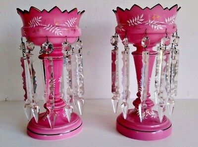 Pair Of Pink  Antique Enameled Victorian Garnitures
