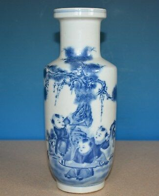 Antique Chinese Porcelain Vase Blue And White Kangxi Mark Rare Y0278