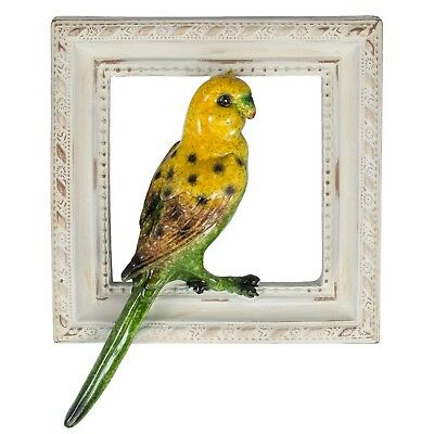 "Yellow & Green Parakeet Budgie Figurine Sculptured Bird Frame 7"" High Resin New"