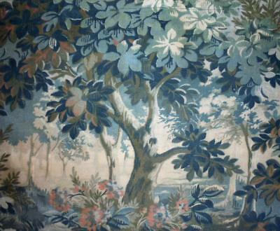 BEAUTIFUL 19th CENTURY FRENCH LINEN & COTTON WITH VERDURE TAPESTRY DESIGN, REF