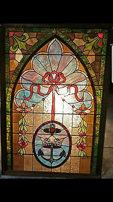 """Vintage Leaded Stained Glass Panel  40"""" x 64"""" in a Wooden Frame *JUST REDUCED*"""