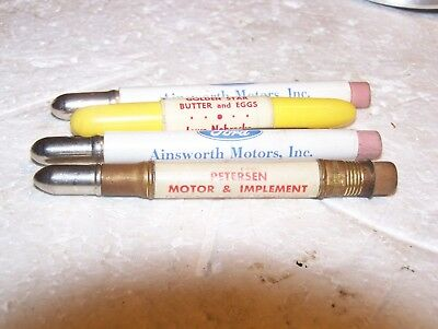 Vintage Bullet Pencil 2 Ford Ainsworth Nebr Desoto Plymouth Massey Harris Gold S