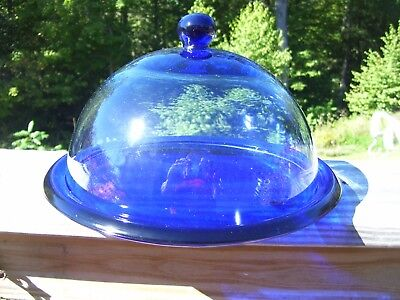 Vintage Cobalt Blue Pastry/cheese Display Plate With Dome Lid/cover