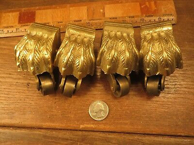4 Matching Old Antique Vintage Victorian Cast Brass Claw Foot Swivel Casters
