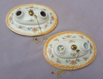 Pair PORCELIER 2-Bulb Oval Ceiling Lights, Rewired, New pull switches, pair #1