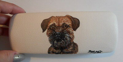 Border Terrier Dog Hand Painted Eyeglass case faux Leather