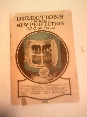 Vintage New Perfection Oil  Cook Stoves Original 1923 Vtg Directions