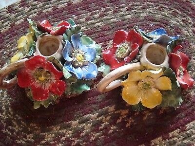 Vintage Capodimonte? Porcelain Floral candle sticks holders Italy