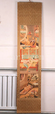 Rare Large Scroll Painting Beautiful Ancient Chinese Beauties Old Collection