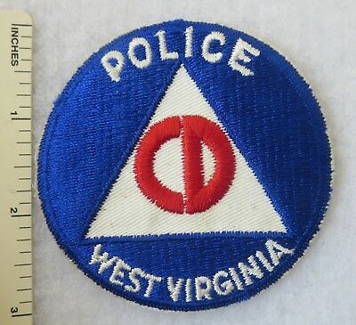 1950s Vintage US CIVIL DEFENSE POLICE WEST VIRGINIA PATCH Cut Edge ORIGINAL
