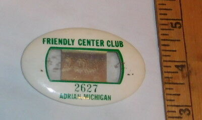 vintage Friendly Center Adrian Michigan Employee Name Badge Pin