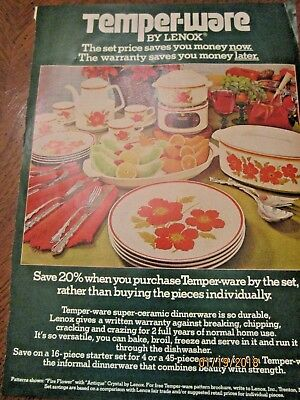 1976 original LENOX TEMPER-WARE AD DISHES POPPY FLOWERS FIRE FLOWERS COOL SET !!