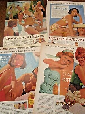 1950s 1960s HOT MOVIE STARS for COPPERTONE PRINT ADS orig. ELKE SOMMER BAKER ++