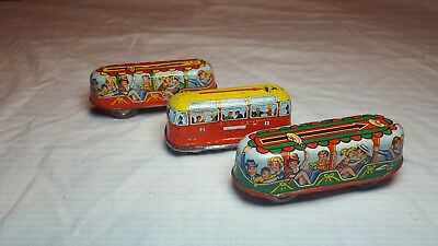 3 Vintage Collectible Tin Litho Wind-Up Bus Trolley Car Made In West Germany 3 ""