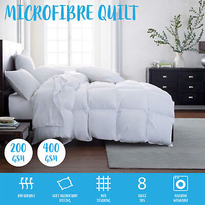 SOFT Microfiber Microfibre Quilt Doona Winter Summer 200 or 400 GSM All Seasons