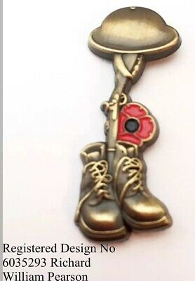 Military Helmet/Rifle/Boots Lapel Pin 10% Donated to Veterans Charities