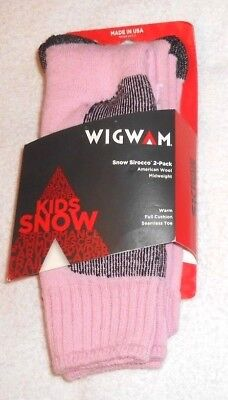 2 pairs, WIGWAM Kids Snow Sirocco Wool Midweight Socks Youth 10-2 (women's 3-5)
