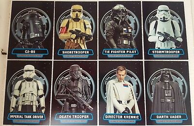 Star Wars ROGUE ONE Series 1 VILLAINS OF THE GALACTIC EMPIRE Trading card Set 8
