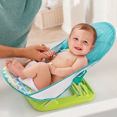 Deluxe Baby Bather Infant Tub Safe Head Cradle Support Foldable Bath Seat - Blue
