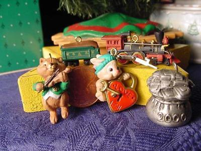 Lot of 5 HALLMARK Miniature Christmas Ornaments train tender bunny pewter money