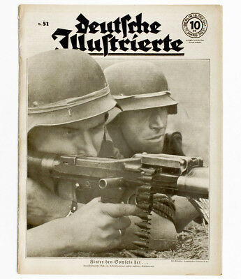 1941 German Soldiers with general purpose machine gun defend Russian attack WWII