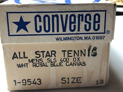Vintage Converse All Star Tennis Sneakers/Shoes White/Royal Blue Canvas sz. 13