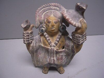 """INAH Mexico Clay Pottery Small 6"""" Figurine Signed"""