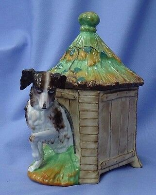 1890s CAVALIER KING CHARLES spaniel in dog house tobacco jar 8""