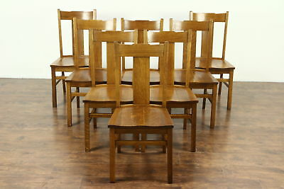 Set of 8 Arts & Crafts Mission Oak Antique 1910 Craftsman Dining Chairs