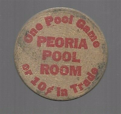 WOODEN NICKEL, PEORIA POOL ROOM, OHIO, OH, 10c IN TRADE