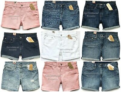 NWT LEVI'S Authentic Women's Roll-Up Mid-Rise Classic, Slim Fit Denim Shorts