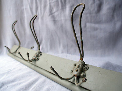 Authentic Antique French Coat Hooks Painted Coat Rack - Wood & Metal Circa 1900