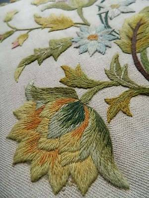 Vintage hand embroidered Irish linen crewelwork book /journal cover - Jacobean