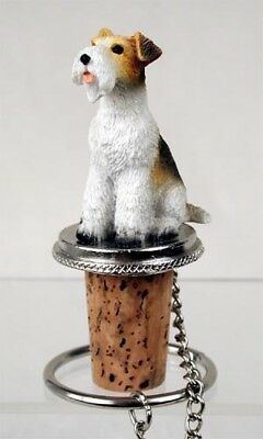 Wirehaired Fox Terrier Dog Hand Painted Resin Figurine Wine Bottle Stopper