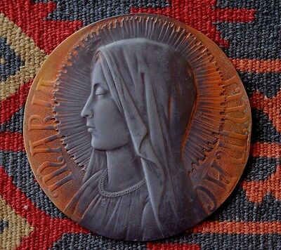 Fine Antique French Bronze Ava Maria Immaculate Virgin Religious Plaque France
