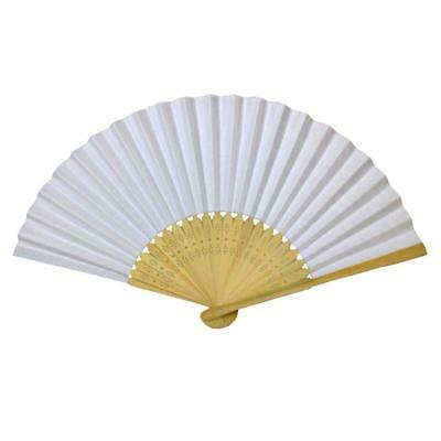 LOT OF 10 WHITE HAND FAN Folding Pocket Wedding Plain Bamboo Paper GOOD QUALITY